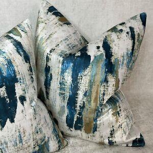 "Luxury Cushion Cover 16"" Lagoon Designer Fabric Velvet ,Teal Navy Decor Abstract"