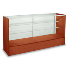 48 Inch Assembled Full Vision Display Case in Cherry with 2 Glass Shelves
