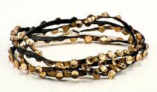 Bronze Leather and Swarovski Crystal multi wrap bracelet with topaz crystals