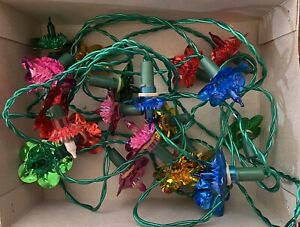 Vintage Retro Push-in Floral Xmas Christmas Fairy Lights Boxed Spare Fuse & Bulb