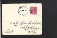 FRANKLINTON, NEW YORK 1898 COVER TO MIDDLEBURG,SCHONARIE CO DPO, 1830/1918.