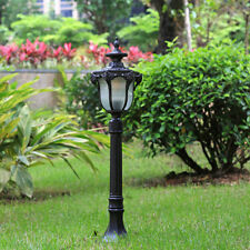 Vintage Black Aluminum Lantern Frosted Glass Courtyard Pillar Lawn Lights IP23