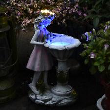 Solar Lighted Girl Statue Garden Resin Figurine Sculpture Lawn Yard Ornament