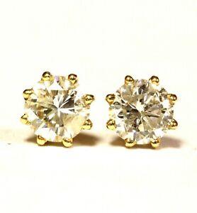 14k yellow gold 1.04ct I1-I2 H round diamond 8 prong stud earrings estate