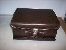 DARK  BROWN TWO-SIDED FAUX LEATHER CASE FOR CASSETTE TAPES<<HOLDS 60 TAPES