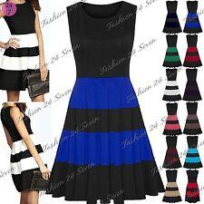 Skater Striped Plus Size Sleeveless Dresses for Women