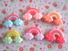 6 x Pretty Rainbow Cloud Kawaii Resin Flatback Cabochon Scrapbooking Craft DIY
