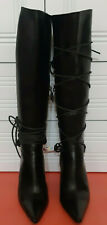 GUCCI Black Leather Horseshoes Laces Heels Long Boots 102151 size 39,5 US 9