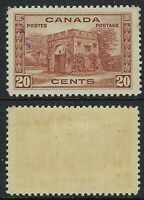 Canada Scott 243: 20c Fort Garry 1938 Pictorial Issues, blue ink stain o/w VF-H