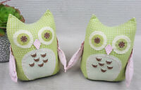 Pottery Barn Quilted Owl Weighted Pink Green Polka Dot - Lot Of 2