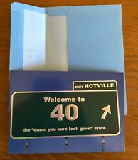 PAPYRUS Greeting Card Happy Birthday Welcome to 40 Exit Hotville Embossed Blue