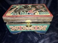 Vintage Chinese Hand Carved & Painted Wood Folk Art Documents Chest Storage Box