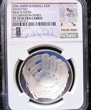 DEREK JETER 2014 SILVER $1 COIN PF70 UC BASEBALL GLOVE 75th HOF NY YANKEE RARE 1