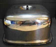 Square Cake Saver Steel Dome Black Knob Glass Plate 1940s