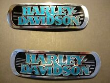 Harley Davidson Turquoise, Black, And Chrome Emblems (FXSTSB Bad Boy)