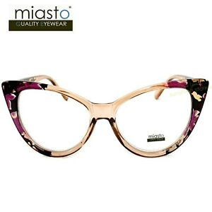 """(2 PAIRS) MIASTO """"BIG CAT EYE"""" READING GLASSES+3.00 CRYSTAL CLEAR & AMBER FLOWER"""