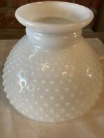 White Milk Glass Hobnail Kerosene Oil Table Lamp Shade 8""
