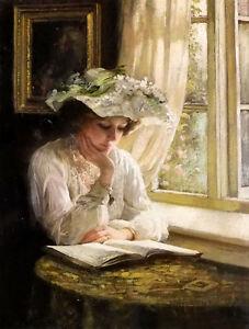 Dream-art Oil painting thomas benjamin kennington - lady reading by a window art