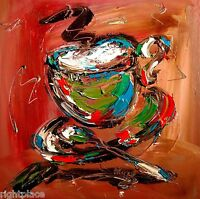 SUPERB COFFEE ORIGINAL OIL ABSTRACT PAINTING CONTEMPORARY CANADIAN ARTIST VGOUYF