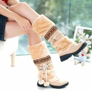 Women's Pom-pom Ball Lace Up Fur Pull On Med Heels Knee High Snow Boots TAO214