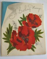 Vintage UNUSED Card  - HAPPY Birthday Frosted Flocked Red Roses