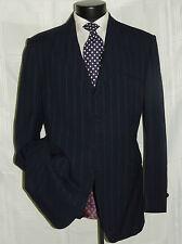 Stunning Vintage Blue chalk stripe men's custom made suit coat jacket pant 42 L