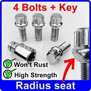 4 x ALLOY WHEEL LOCKING BOLTS FOR VW GOLF MK4 MK5 MK6 MK7 SECURITY LUG NUT [R0b]