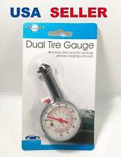 Tire Pressure Dual Gauge KPa & PSI Car Automotive Dial Type NEW Retains reading