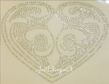 Fleur de Lis Heart Hot Fix Rhinestone Iron On Transfer Bling MADE IN USA