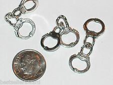 2pc miniature dollhouse tiny small Handcuffs arrested movable chain 12mm sv New