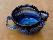 Stoneware Handcrafted Lg. Brown and Blue swirled glazed pinch spout Gravy Bowl