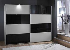 SlumberHaus German Eleganz White & Black Glass 270cm Sliding Door Wardrobe