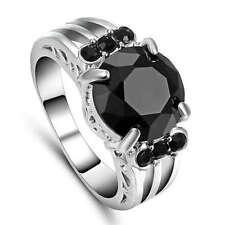 Size 7 Black Sapphire Crystal Gem Wedding Ring Women's White Rhodium Plated