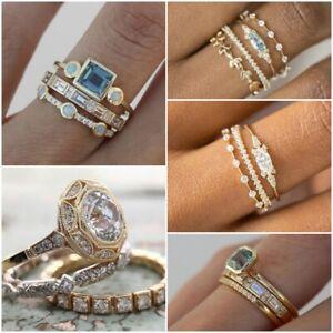 Women Fashion 925 Silver Rings White Sapphire 3pcs/set Wedding Ring Size 6-10
