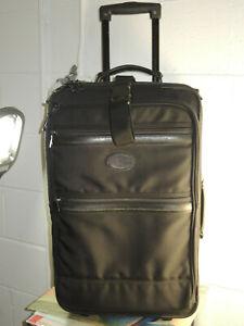 "Pathfinder Nylon/Leather Trim 22"" Wheeled Carry on Luggage With Bag Hook-Up"
