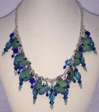 "Butterfly Necklace Blue Green Glass Beads 17"" Strand String Bib Silvertone Chain"