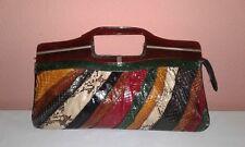 Vintage Multicolor Snake Skin & Leather Clutch/Handbag