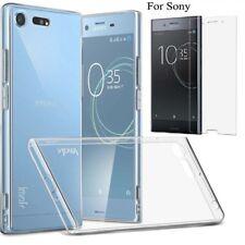 Ultra Slim Clear Gel Skin Case Cover & Tempered Glass - Xperia XZ Premium L1 L3