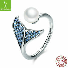925 Sterling Silver Open Ring Mermaid's Tear White Pearl Blue Tail CZ Fairy Ring