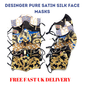 Designer Luxury Pure Satin Silk Soft Feel Face Mask Covering Baroque UK SELLER