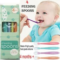 4 x Baby Feeding spoons silicone Soft and flexible Spoon Perfect for little ones