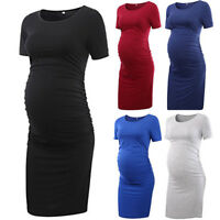 Women's Maternity Dress Solid Summer Casual Short Sleeve O-neck Bodycon Dresses