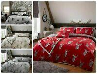 Teddy Bear Fleece Stag Printed Duvet Cover Set Thermal Warm Soft Bedding