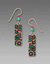 Adajio Earrings Brushed Gold tone Column with Coral & Turquoise Paisley Print