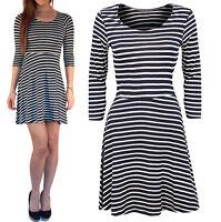 Womens Ladies Skater Dress Floaty Striped Navy Casual UK Stretch Size 8 10 12 14