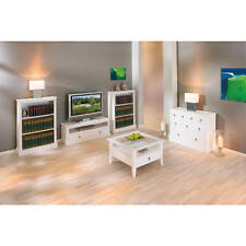 Meuble TV salon rangement commode console 2 tiroirs campagnard bois massif blanc