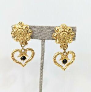 GRAZIANO Vintage ETRUSCAN heart DANGLE runway earrings gold toned vtg