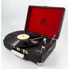 GPO Attache Black Portable Briefcase Record Player Vinyl Turntable USB