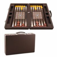 Luxury Leather Coated  Wooden Backgammon Board With Handling Case
