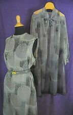 GERALDINE / SID GREENE Vintage Sleeveless Dress + Sheer Overcoat Pussy Bow M-L